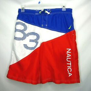 Nautica-Board-Shorts-Color-Block-Swim-Trunks-Blue-Red-White-Mens-Size-XL-Vintage