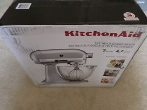 Details about KitchenAid KSM105GBC 5-Qt Tilt Head Stand Mixer Glass Bowl -  Metallic Chrome