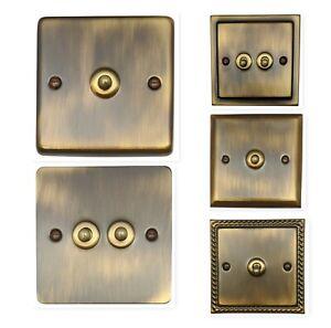 G/&h LAB302 Screwless Antique Bronze 2 Gang 1 ou 2 Façon Rocker Interrupteur De Lumière