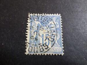 FRANCE timbre CLASSIQUE 15 c. bleu, type Sage, oblitéré, cancel OLD STAMP LOT 05
