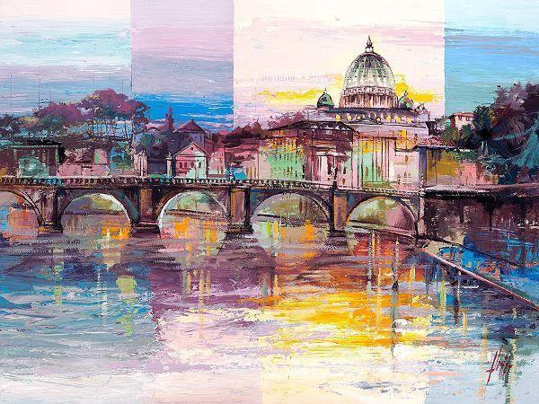 Luigi Florio  ROM di sieri telaio-Immagine Tela Italia Roma Tevere Ponte