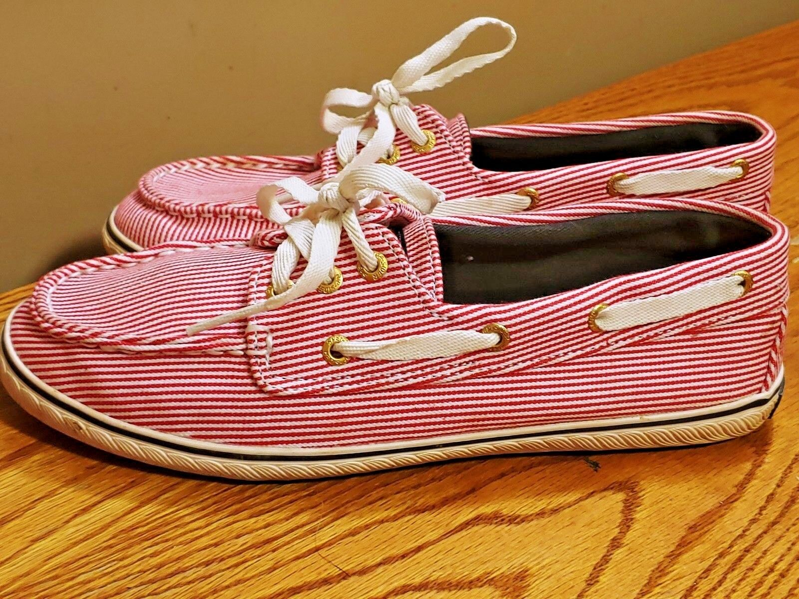 SPERRY TOP SIDER Candy Stripe Red Boat Deck Loafers Womens shoes Sz 6.5 b4