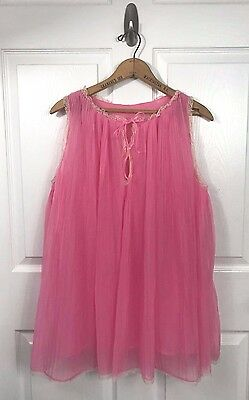 Vintage Evette Sheer Pleated Nightgown Nightie Bubblegum Pink 60s 1960s Size M
