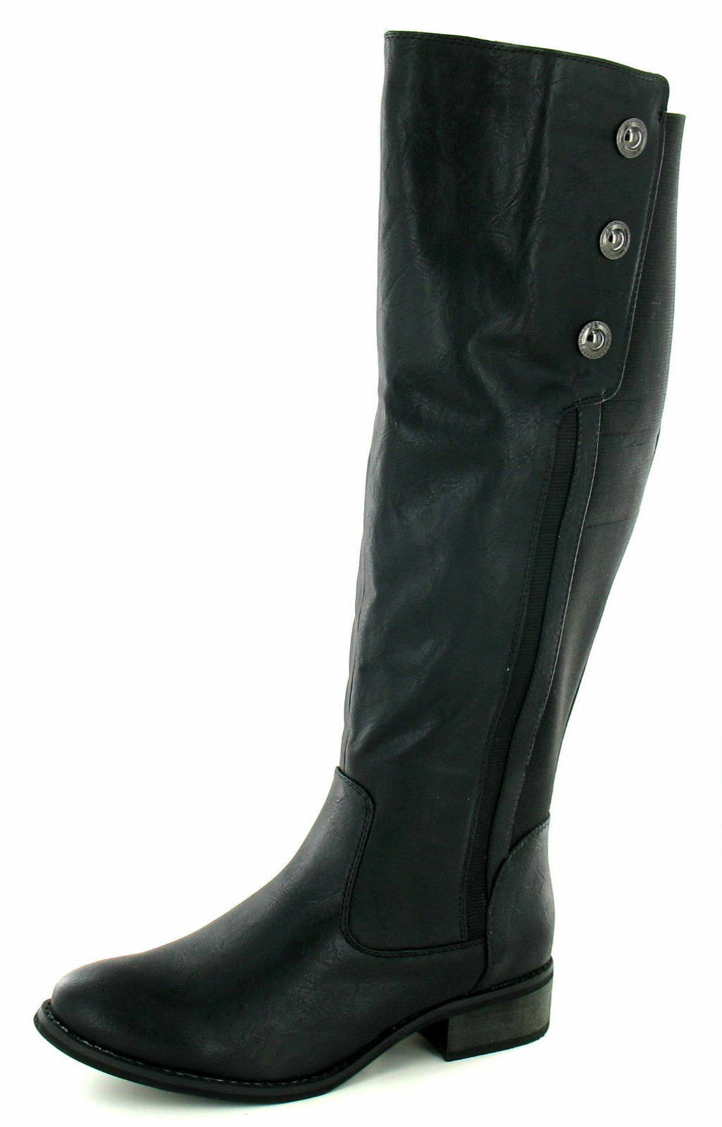 Spot On F50160 Ladies Black PU Knee High Boot