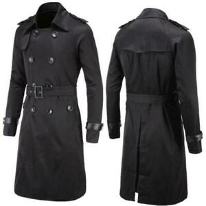 04640d9e87 Mens Slim Double Breasted Long Trench Coat Belted Jacket Male Black ...