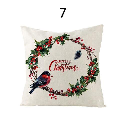 1PC Christmas Printed Linen Cushion Covers Throw Pillow Case Sofa Chair Decor