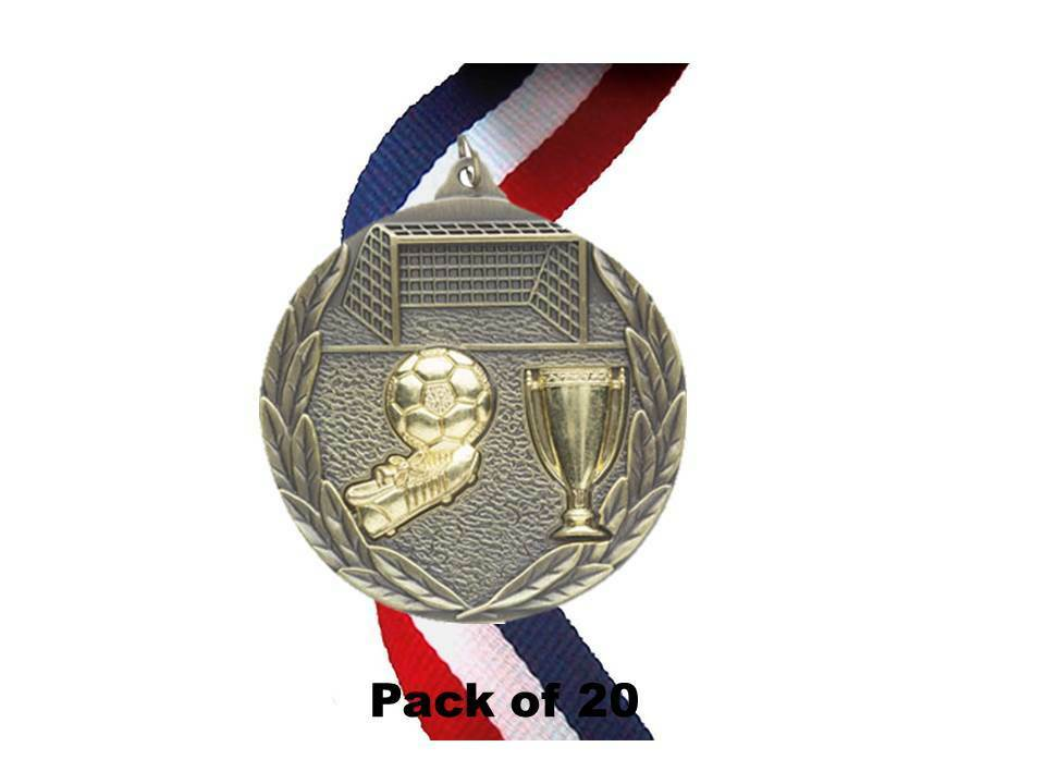 20 x 70mm Football Medal with Ribbon, Antique gold,Metal,(M853G) cl