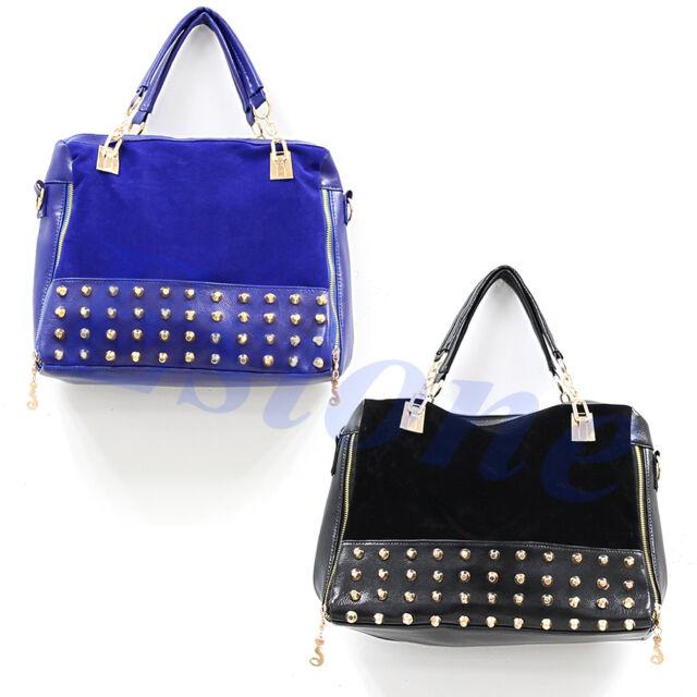 Fashion Women Retro Rivet Stitching Tote Shoulder Messenger Handbag Hobo Bag