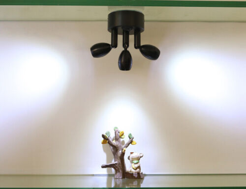 3W Three Heads LED Spot Light Rechargeable Battery Lamp On//Off Button Cabinet
