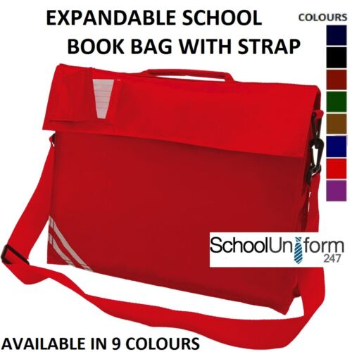 Boys Girls Childrens Kids Expandable Classic School Book Bag 9 Colours Strap