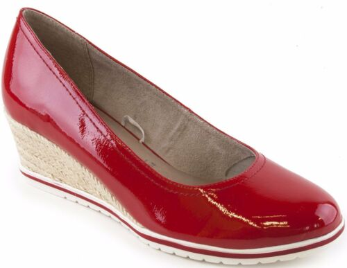 Tamaris 22441 Red Patent Espadrille Wedge Shoes With Touch It Insoles Red