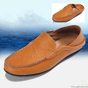 New-men-039-s-casual-slip-on-loafer-leather-Moccasins-slipper-Driving-shoes-sandals