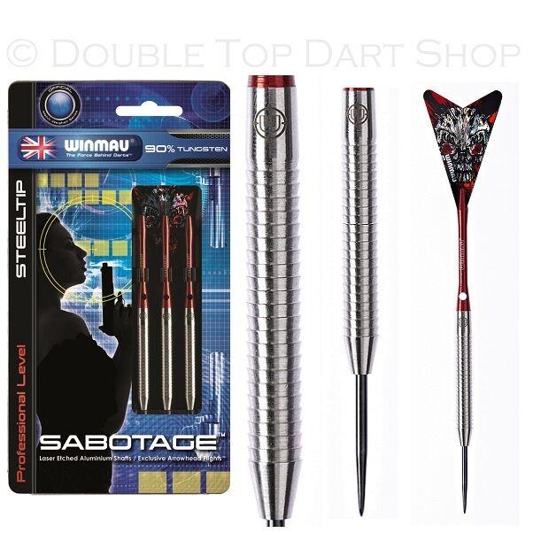 Winmau Sabotage 90% Tungsten Steel Tip Darts - Shark Grip - 20g, 22g, 24g & 26g
