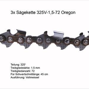 3 Pièces Oregon Chaine De Tronconneuse 325 1.5 Mm 72 Tg Vm Chaîne De Rechange-afficher Le Titre D'origine
