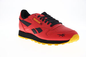 Reebok-Classic-Leather-MU-FW2265-Mens-Red-Leather-Low-Top-Sneakers-Shoes