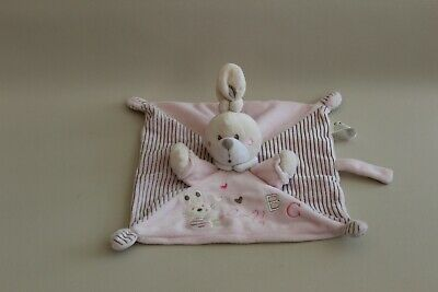 Peluche Doudou Plat Lapin Beige Rose Rayures Abc Nicotoy