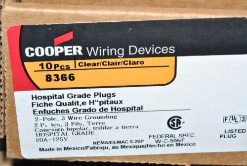 COOPER Wiring 8366 20A 125V NEMA 5-20P Hospital Grade 2Pole-3Wire Plug 1pcs
