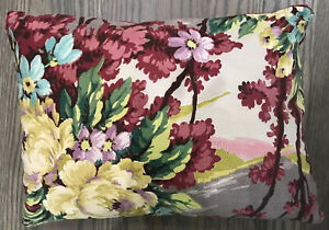 Exceptional-Vintage-Barkcloth-Pillow-Nature-Scene-With-Flowers-Vivid-Colors