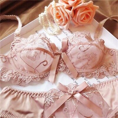 Ladies Floral Sheer Lace Balcony Bra and Panties Lingerie Set Briefs B-C-D-DD-E