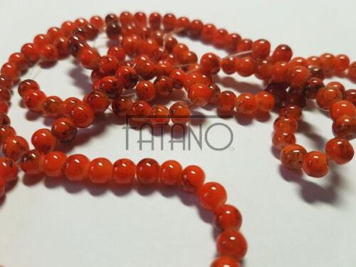 Cuentas de vidrio perlas jaspeado 6mm naranja 1 Strang circa 140 unidades bricolaje r361