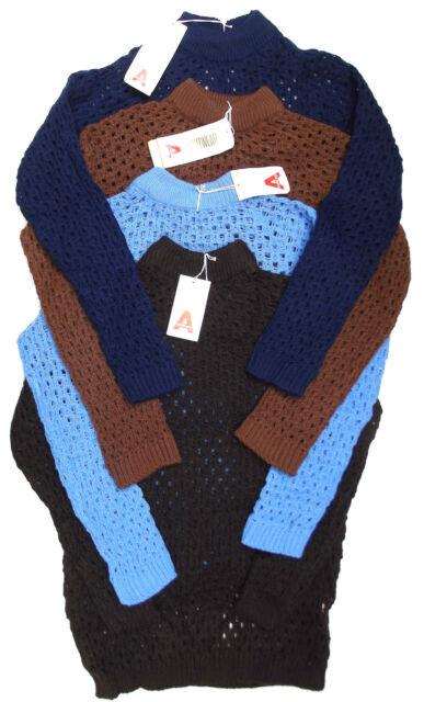 Womens vintage open knit jumper 1960s UNUSED Acrilan medium  BROWN