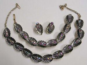 Vintage-Jewelry-Bracelet-Necklace-Earrings-Red-Aurora-Rhinestone-Enameled-Leaves