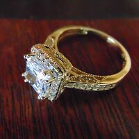 14k Solid Gold Antique Style Princess Cut Man Made Diamond Engagement Ring