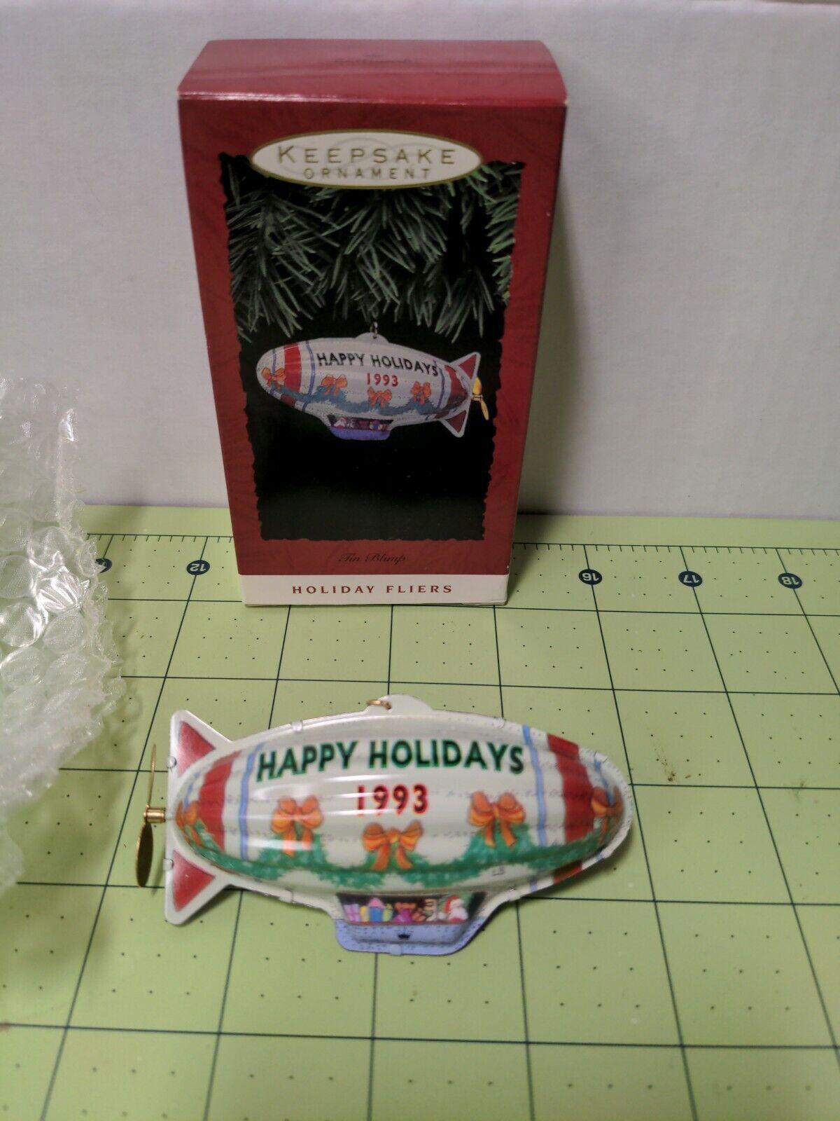 1993 Hallmark Keepsake Ornament ~ Tin Blimp ~ Holiday Fliers ~ MINT