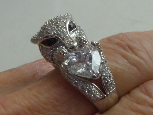 STUNNING SOLID SILVER PANTHER RING