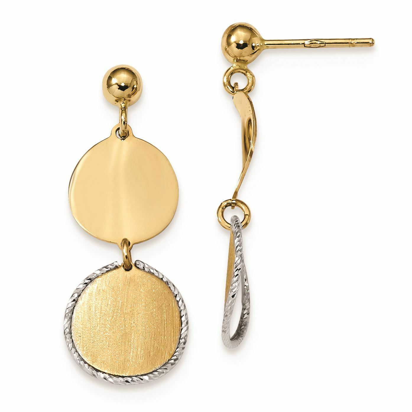 14K White And Yellow gold 11 MM Satin and Dangle Circles Stud Earrings, 30 MM