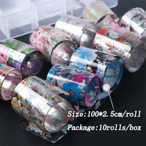 Flower-Transfer-Manicure-Decor-Nail-Foil-Nail-Art-Stickers-Holographic-Decals-FA