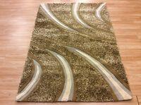 Modern Cream Beige Leather Shaggy Rug Carpet Heavy Quality Rug 120x180cm 60%off