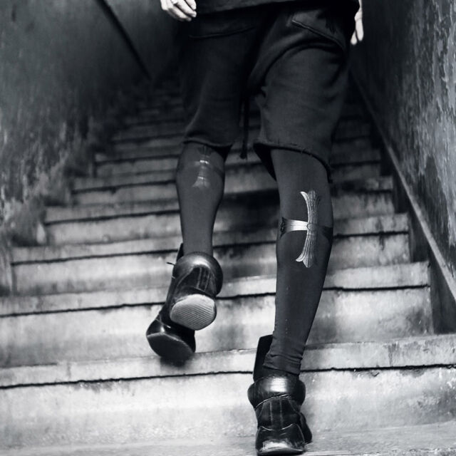 ByTheR Men's Fashion ByTheR Back Cross Print Leggings Pants Onesize P000BIVA