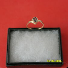 PRETTY 9CT YELLOW GOLD OVAL MYSTIC TOPAZ & DIAMOND RING  SIZE O12 IN GIFT BOX