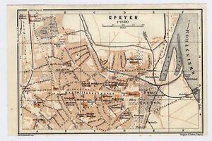 1925 Original Vintage Map Of Speyer Rhineland Palatinate Germany