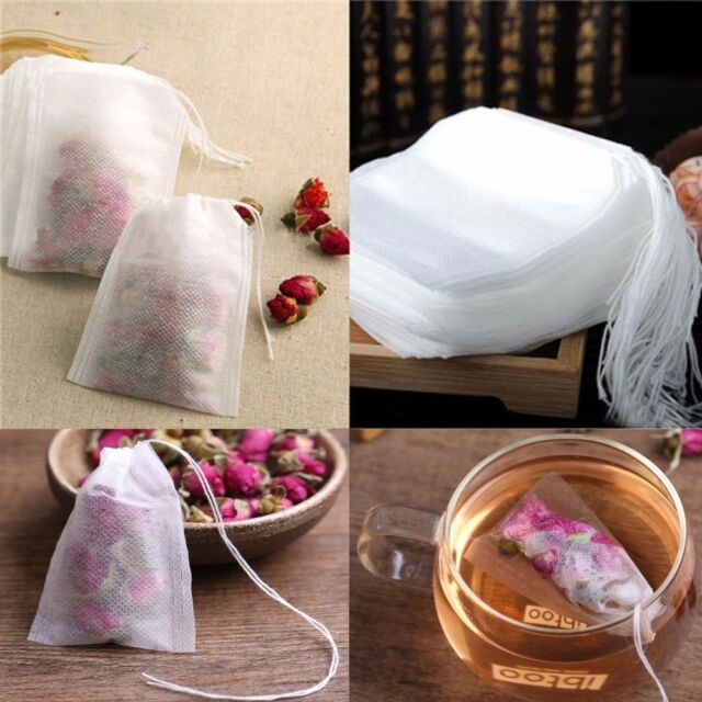 100 X 5 7cm Empty Tea Bags Teabags Paper Herb Loose String Heat Seal Filter