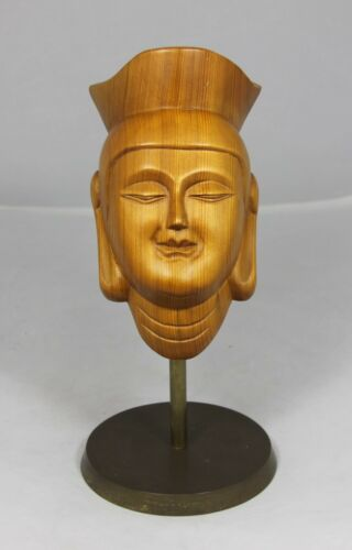 """Hand Carved Wooden Chinese Face"" Mounted on a Brass Base"
