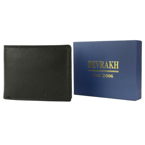 Geldbörse Leder schwarz Ziegenleder Portmonnee Börse 12x10x3cm Geschenk DEVRAKH