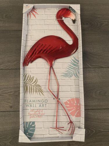 GIARDINO in metallo Wall Art FLAMINGO Tropical Bird Decorazione Estate Rosa Rosso