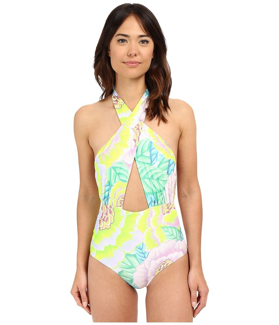 Mara Hoffman Cross Front Halter One Piece Flora Multi Swimsuit Sz XS 0317