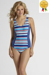 e76adc6ca90ba Image is loading Tropical-Escape-Womens-Swimsuit-One-Piece-Striped-size-