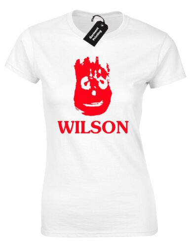 WILSON LADIES T SHIRT VOLLEYBALL FILM INSPIRED TOM HANKS DESERT ISLAND NOVELTY