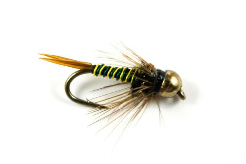 x6 Fly Fishing Flies Prince Hotwire Green Yellow Bass, Bream, Trout, Salmon
