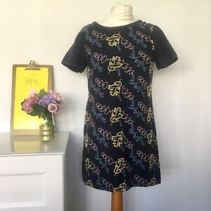 WHITE-STUFF-Tunic-Size-10-NAVY-BLUE-Embroidered-Top-Cotton-Blend-Floral-Leaf