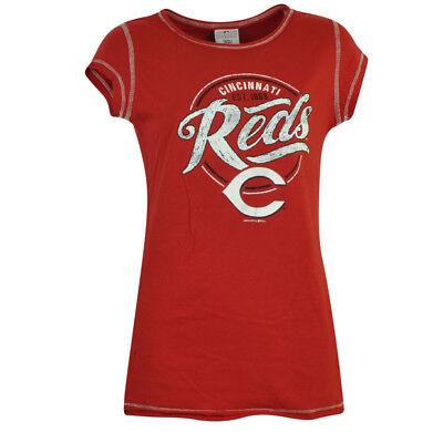 KöStlich Mlb Cincinnati Reds Emma Tem Junior Passende T-shirt Distressed T-shirt Kurzarm Fanartikel