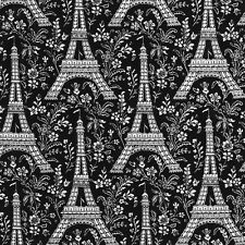 """25"""" REMNANT ~ Michael Miller Eiffel Tower in Ebony ~ French France Black Fabric"""