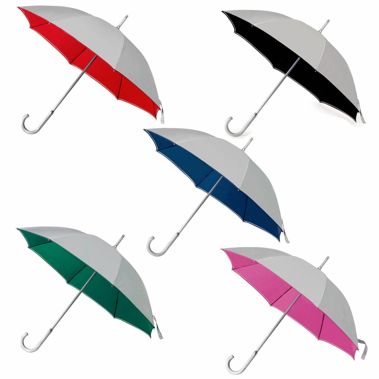 4 Bicolour Classic Manual Wedding Umbrellas aluminium handle main colour silver.