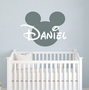 Details About Personalized Baby Name Wall Decal Mickey Mouse Head Vinyl Sticker Nursery Zx29