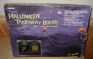 Halloween Stake Pathway Lights Purple w/ Pumpkins 8.5FT Outside Decor NOMA