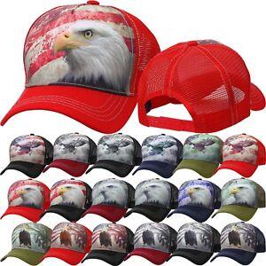 b8993dbf AMERICAN FLAG EAGLE TRUCKER HAT Animal Farm Baseball Cap Adjustable ...